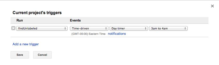 Gmail Script Trigger WIndow